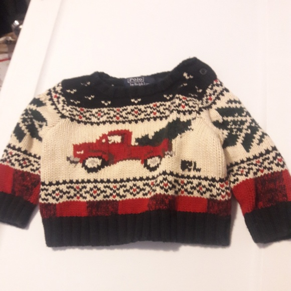 Polo Ralph Lauren Baby Boys Green Black Grey Red Xmas Sweater Toddler Size 4T